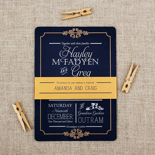 Navy Wedding Invitation with Gold Bellyband for Grandview Gardens Wedding