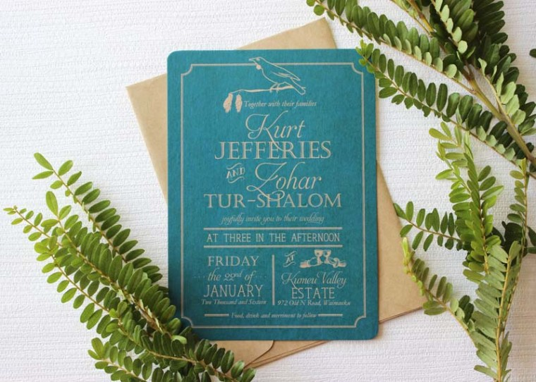 rustic nz - tui wedding invite